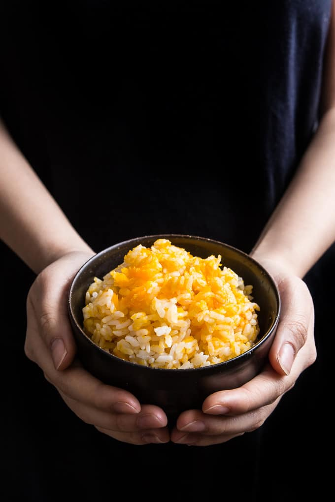 Instant Pot Kabocha Squash Rice Recipe: make simple, frugal pressure cooker Japanese pumpkin rice #instantpot #pressurecooker #rice #recipes #japanese #healthy