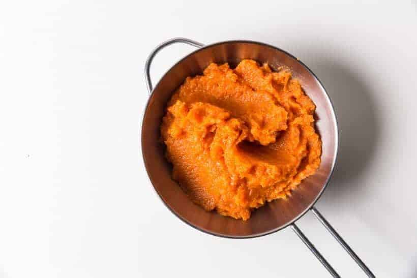 5 ingredients & 10 mins to make this simple Sweet Pressure Cooker Carrot Puree Recipe. This healthy & delicious carrot side dish is super easy to make!