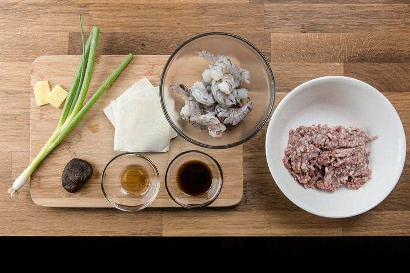 Shumai Recipe (Shrimp & Pork Dumplings 燒賣) Ingredients