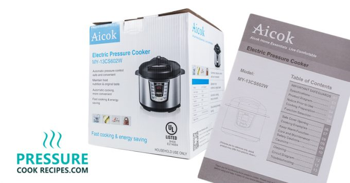 Aicok 7-in-1 Multi-Functional Programmable Electric Pressure Cooker Box and Manual