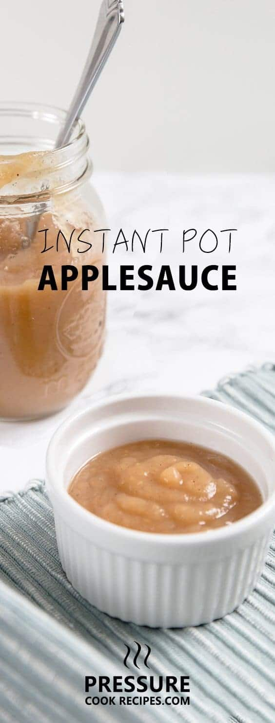 Easy Instant Pot Applesauce - 5 mins prep + 6 ingredients to make. Imagine a sweet, warm, cinnamon-spiced homemade apple pie filling. Enjoy this smooth applesauce as a side or dessert. Don't just save it for Thanksgiving!