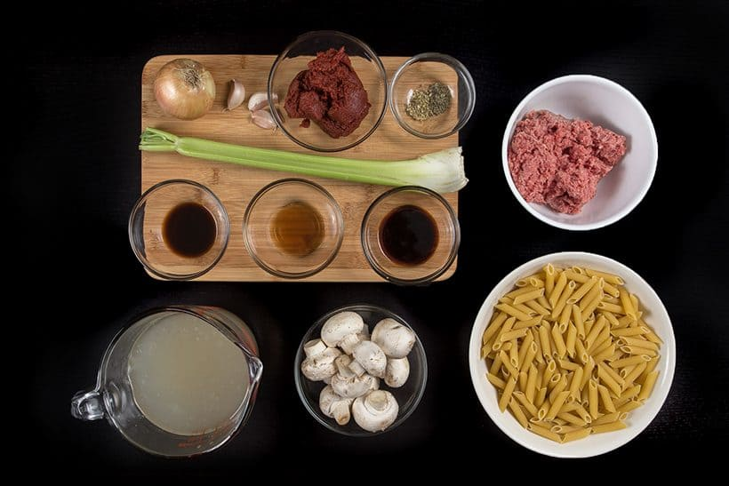 One Pot Pressure Cooker Pasta Bolognese Recipe Ingredients