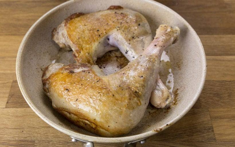 browning turkey quarters on a skillet