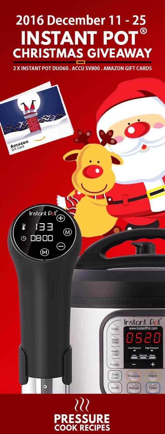 Christmas Instant Pot Giveaway: Now it's your chance to win an Instant Pot Pressure Cooker, Instant Pot Sous Vide Circulator & Amazon Gift Cards!
