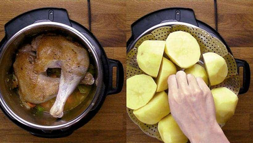 instant pot pot-in-pot method - turkey at the bottom, steamer rack and potatoes on top