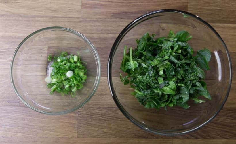 chopped green onion and spinach