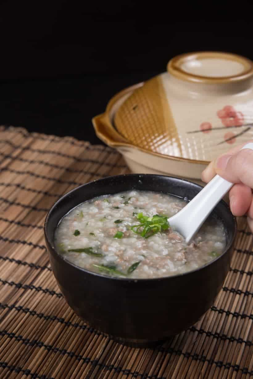Make Healthy Instant Pot Congee (Jook) Recipe with Minced Beef & Spinach! Soothing 7-ingredient pressure cooker congee.