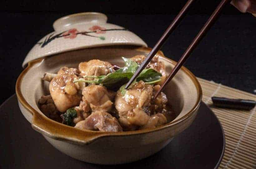 Classic Taiwanese Instant Pot Three Cup Chicken Recipe (San Bei Ji) 三杯鷄: tender chicken in fragrant, savory-spiced, slightly sweet secret sauce.
