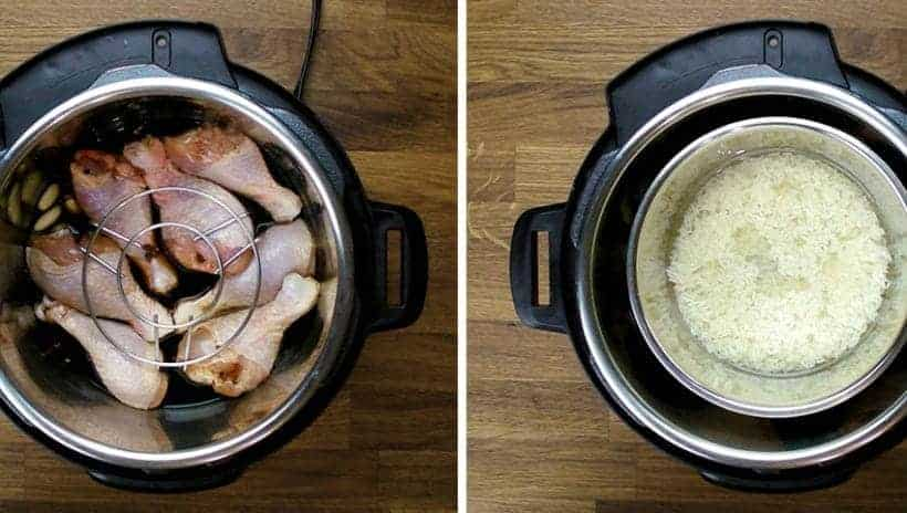 Pot in Pot or Pan in Pot Method to cook Instant Pot Chicken and Rice