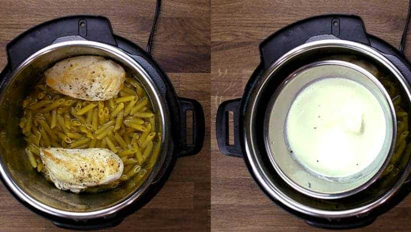 Instant Pot Spinach Chicken Alfredo Pasta Recipe: Pot-in-Pot Chicken and Pasta