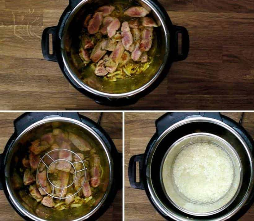 Easy Pressure Cooker Ginger Pork Shogayaki Recipe (pressure cooker one pot meal, instant pot pot in pot recipe): sliced pork butt, steamer rack, calrose rice