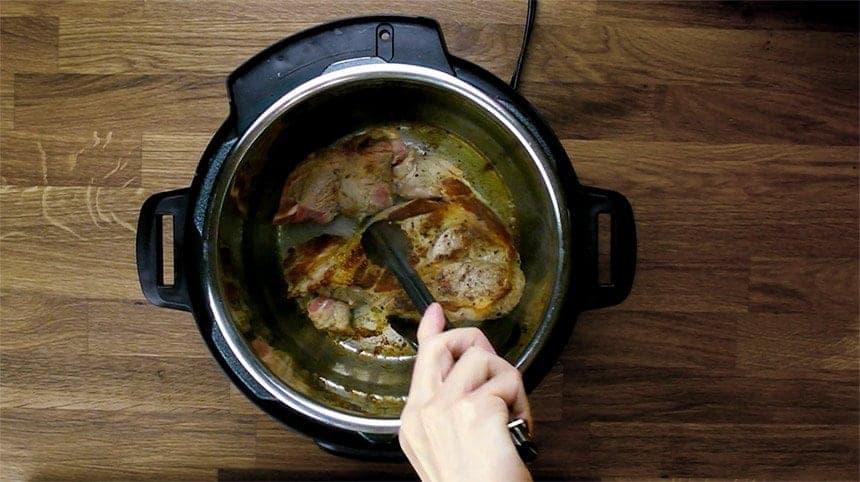 Easy Pressure Cooker Ginger Pork Shogayaki Recipe (Pot-in-Pot): browning pork shoulder (pork butt meat)
