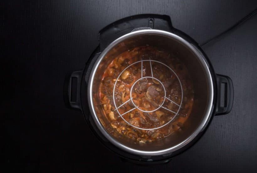 Instant Pot Pork Shoulder in HK Tomato Sauce Recipe (Pressure Cooker Pork Shoulder): Instant Pot Pot-in-Pot method - place steamer rack in the Instant Pot