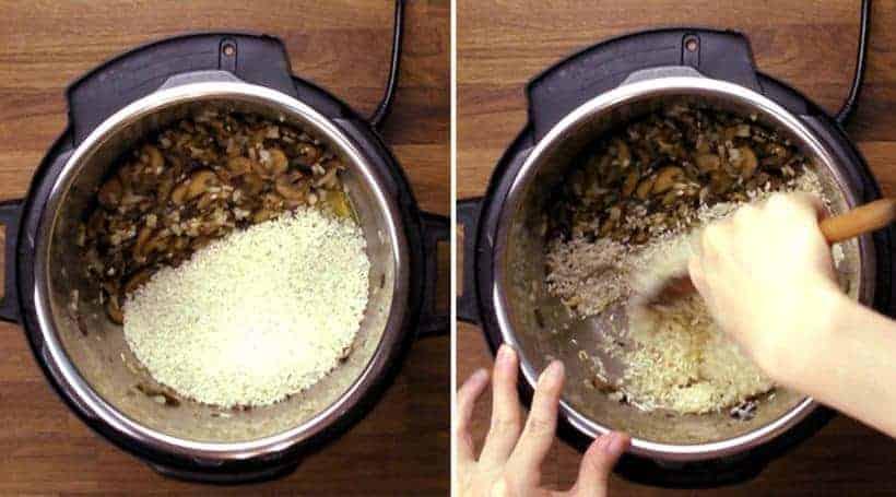 Instant Pot Mushroom Risotto Recipe (Pressure Cooker Mushroom Risotto): add arborio rice and stir in oil