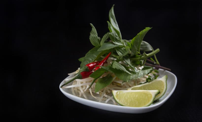 Instant Pot Pho Ga Recipe (Pressure Cooker Pho Ga): Vietnamese pho herbs platter on the side