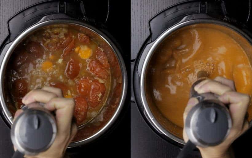 Instant Pot Tomato Soup Recipe (Pressure Cooker Tomato Soup): blend pressure cooked tomatoes with immersion hand blender