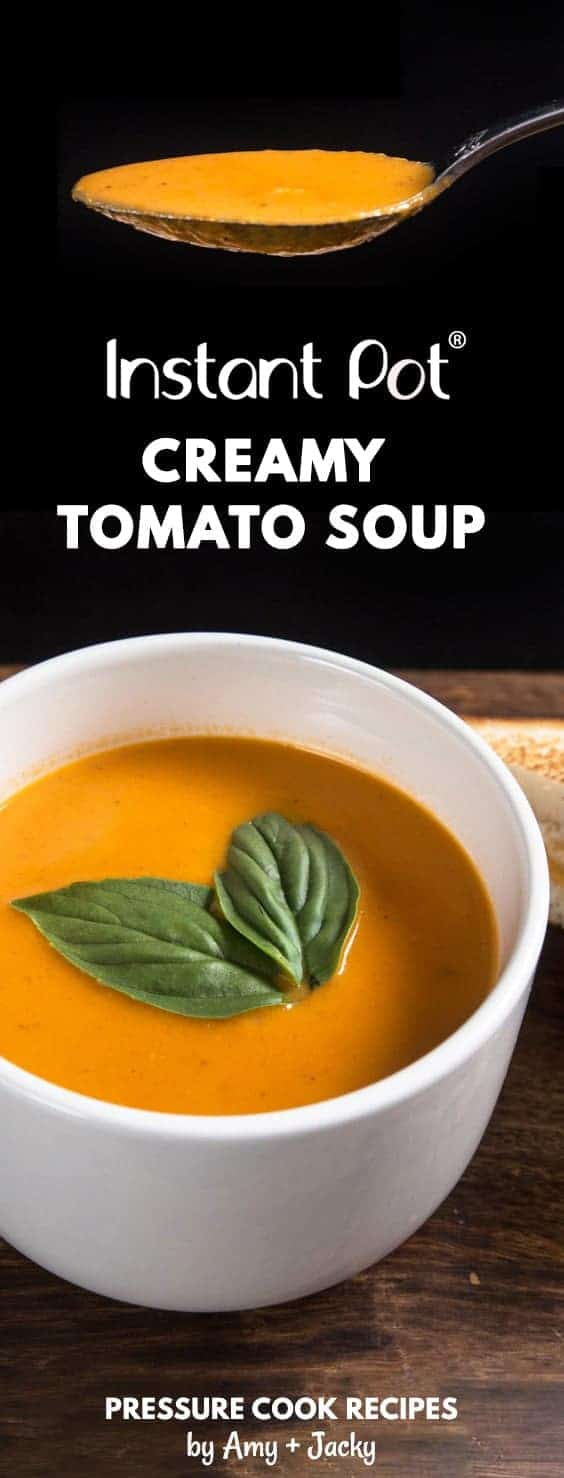 Make this Creamy Instant Pot Tomato Soup Recipe (Pressure Cooker Tomato Soup)! This homemade tomato basil soup from scratch (with vegan option) is healthy, super easy to make, and freezer-friendly. Perfect dip for the toasted golden grilled cheese.
