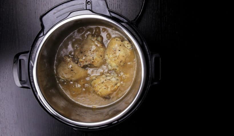 Instant Pot Lemon Chicken Recipe (Pressure Cooker Lemon Chicken): place chicken back into Instant Pot in the honey lemon garlic sauce