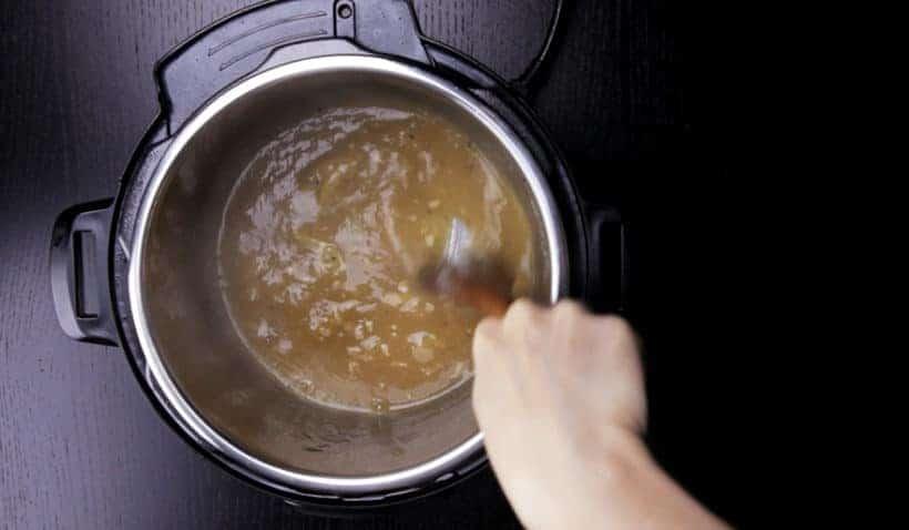 Instant Pot Lemon Chicken Recipe (Pressure Cooker Lemon Chicken): thicken gravy and create honey lemon garlic chicken sauce in Instant Pot Multicooker