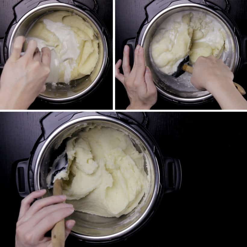 Michelin-Star Inspired Instant Pot Mashed Potatoes Recipe: gently stir hot milk into the mashed potatoes