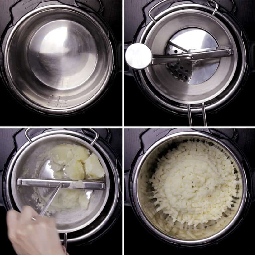 Michelin-Star Inspired Instant Pot Mashed Potatoes Recipe: place food mill on Instant Pot Inner Pot, then mash the potatoes back into the liner