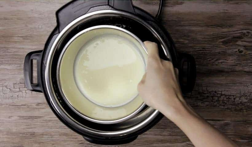 Instant Pot Dulce De Leche Recipe (Pressure Cooker Dulce De Leche): place stainless steel bowl of condensed milk mixture directly in the water