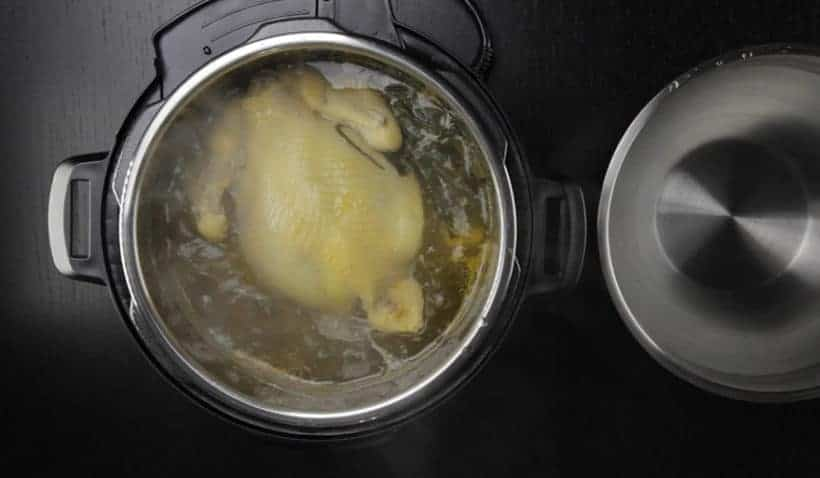 Instant Pot HK Chicken Recipe (Pressure Cooker Chicken) - Cantonese Poached Whole Chicken White Cut Chicken 白切雞: remove whole Instant Pot Chicken from Instant Pot Electric Pressure Cooker