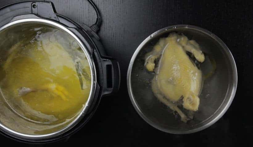 Instant Pot HK Chicken Recipe (Pressure Cooker Chicken) - Cantonese Poached Whole Chicken White Cut Chicken 白切雞: completely submerge whole Instant Pot Chicken in ice water