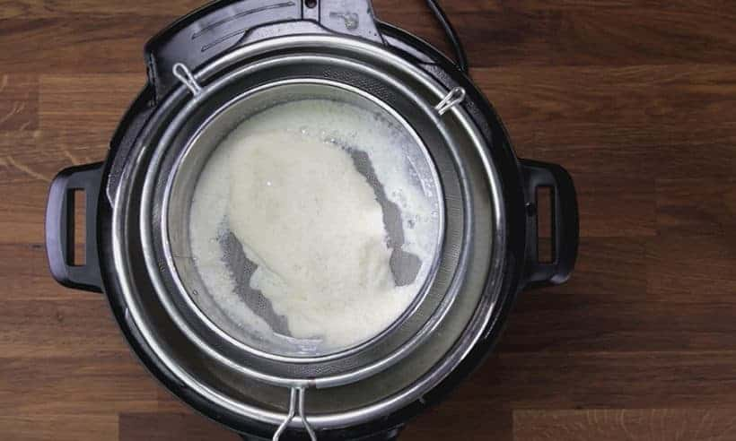 Make 3-Ingredient Fresh Instant Pot Soy Milk Recipe (Pressure Cooker Soy Milk 豆漿, 豆奶): strain soy milk with cheesecloth, nut bag, or stacked mesh strainers for ultra-smooth soya milk