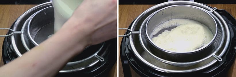 Instant Pot Tofu Pudding Recipe (Pressure Cooker Dou Hua 免石膏粉豆腐花): strain pressure cooked soy milk with cheesecloth or fine mesh strainers into saucepan with agar agar powder