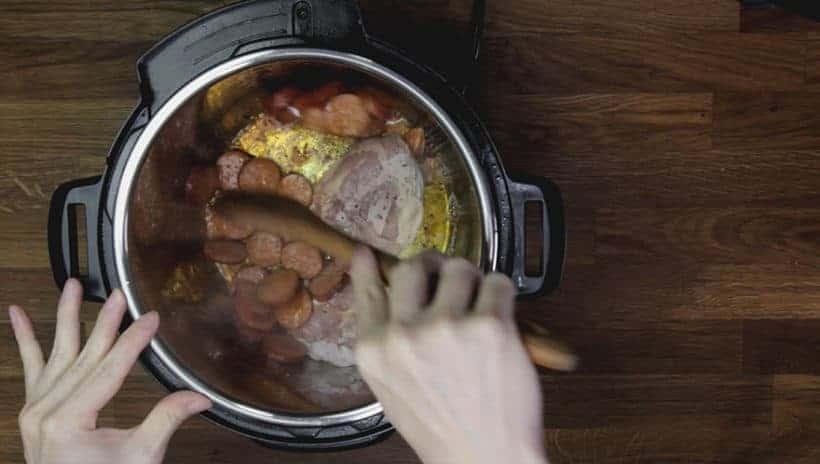 Instant Pot Gumbo Recipe (Pressure Cooker Gumbo): saute sliced andouille sausage in Instant Pot Electric Pressure Cooker