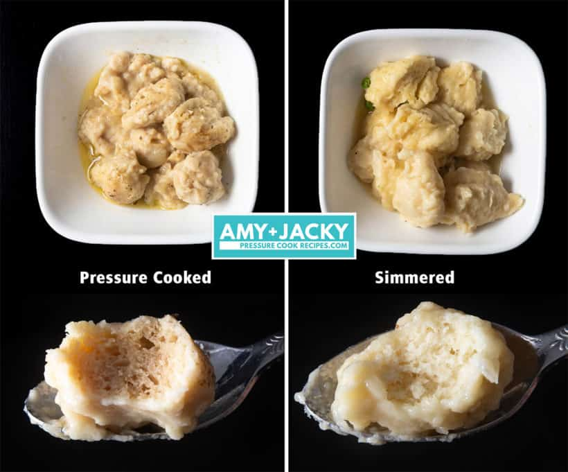 Instant Pot Chicken and Dumplings Recipe (Pressure Cooker Chicken and Dumplings): how to make dumplings from scratch - light, fluffy, holds together with perfect texture and flavor