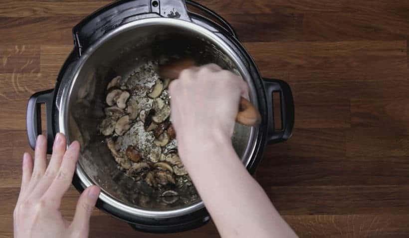Instant Pot Tuscan Chicken Recipe (Pressure Cooker Tuscan Garlic Chicken): saute mushroom in Instant Pot Pressure Cooker