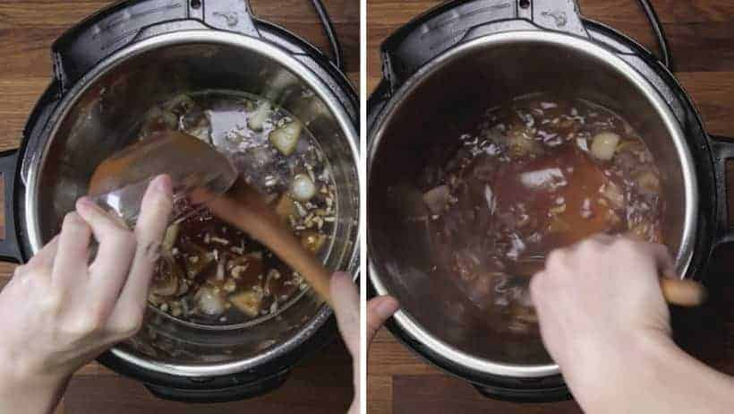 How to Make Instant Pot Sweet 'n Sour Pork Chops Recipe: add sweet and sour sauce ingredients and mix well with wooden spoon.