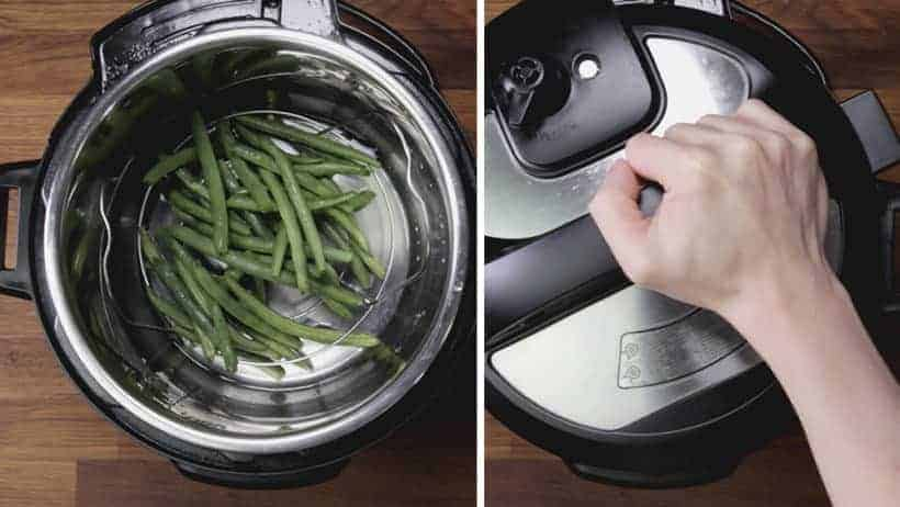 Instant Pot Green Beans Recipe (Pressure Cooker Green Beans): place fresh green beans on steamer rack