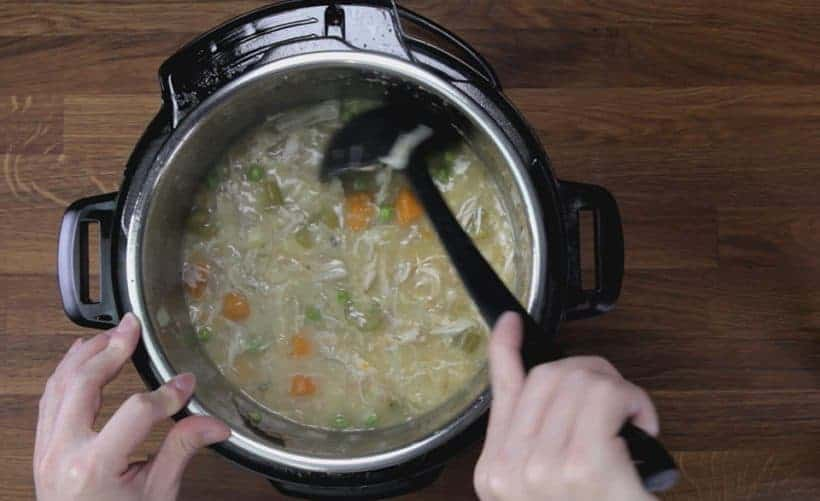 Instant Pot Chicken and Dumplings Recipe (Pressure Cooker Chicken and Dumplings): thicken chicken soup with potatoes and flour