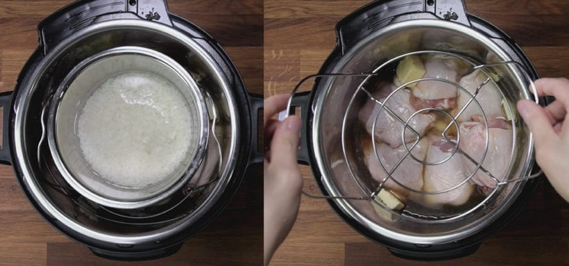 Instant Pot Honey Garlic Chicken Recipe (Pressure Cooker Honey Garlic Chicken): how to cook pot in pot rice in Instant Pot Pressure Cooker with chicken #instantpot #pressurecooker #chicken #chickenrecipes #recipes #potinpot #rice
