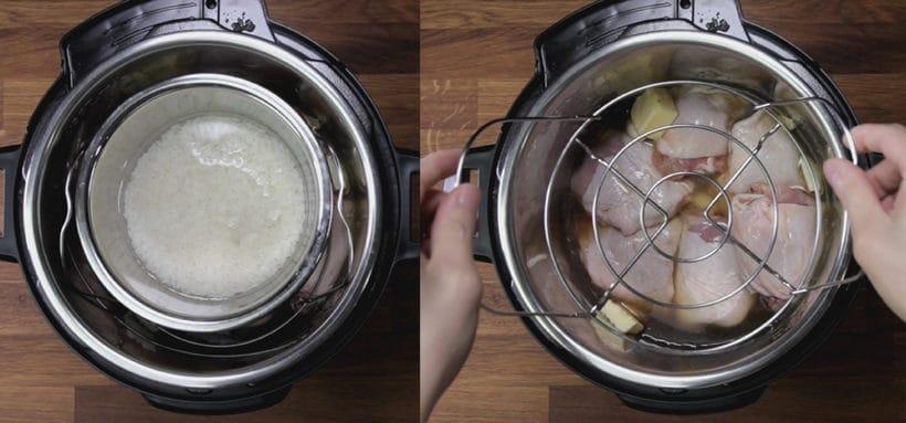 Instant Pot Honey Garlic Chicken Recipe (Pressure Cooker Honey Garlic Chicken): how to cook pot in pot rice in Instant Pot Pressure Cooker with chicken #instantpot #pressurecooker #chicken #chickenrecipes #recipes #potinpot #rice