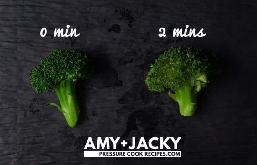Instant Pot Broccoli Recipe: comparison between broccoli experiment with different pressure cooking times #instantpot #pressurecooker #vegan #vegetarian #recipe #keto #paleo