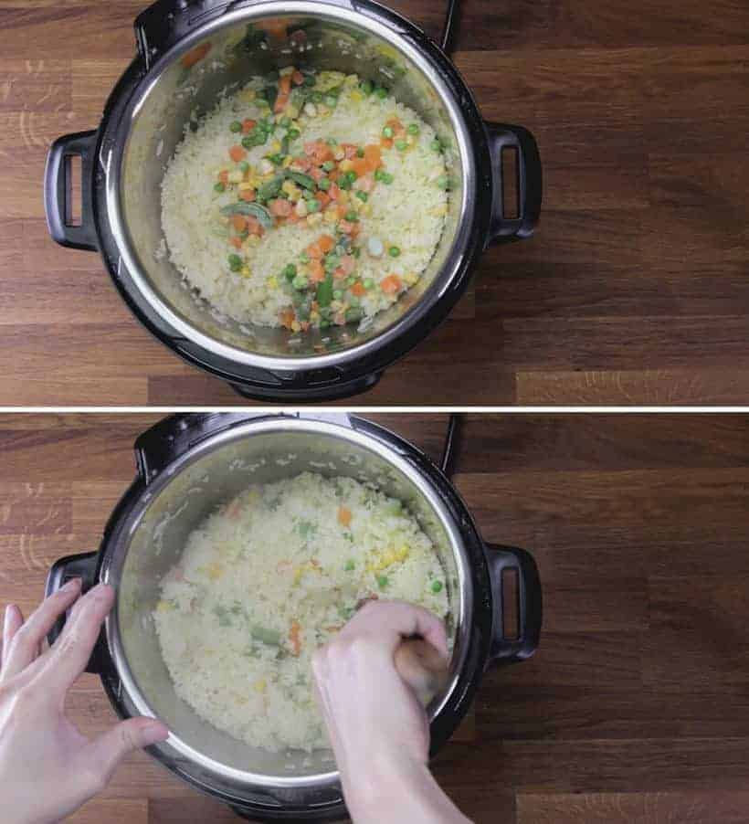 Instant Pot Fried Rice (Pressure Cooker Fried Rice) Recipe: add thawed frozen vegetables in Instant Pot Egg Fried Rice