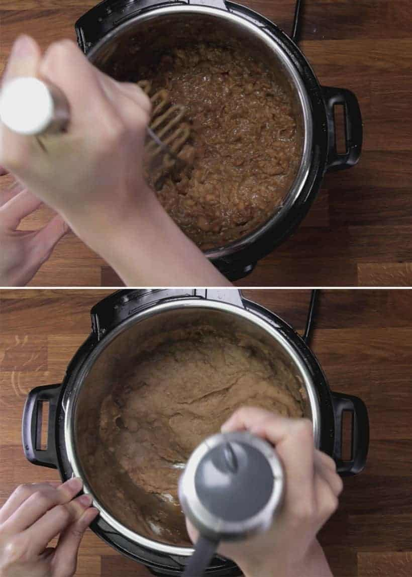 Instant Pot Refried Beans (Pressure Cooker) Recipe: mash pressure cooked pinto beans with potato masher or blend with immersion blender