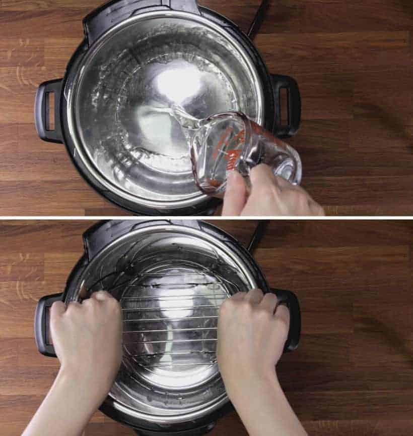add water and steamer rack trivet in Instant Pot Pressure Cooker