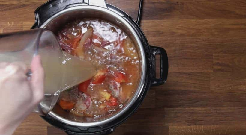 Instant Pot HK Borscht Soup: add unsalted chicken stock in Instant Pot Pressure Cooker