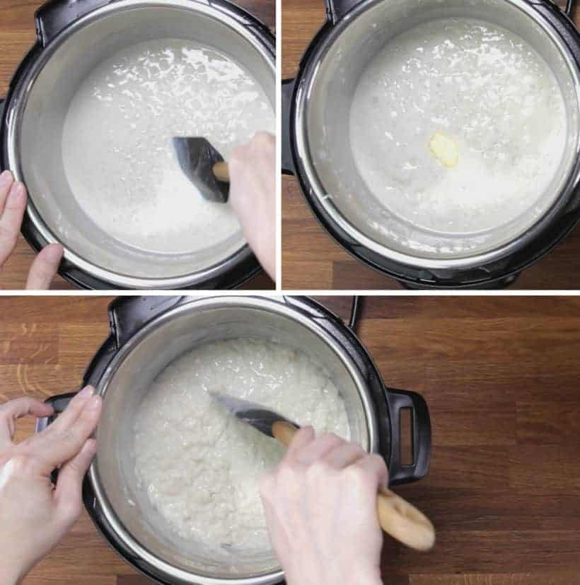 Instant Pot Rice Pudding: simmer rice pudding and stir with spatula until thicken and saucy
