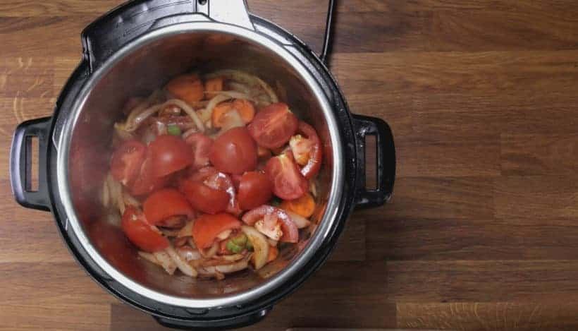 Instant Pot HK Borscht Soup: add quartered tomatoes in Instant Pot Pressure Cooker