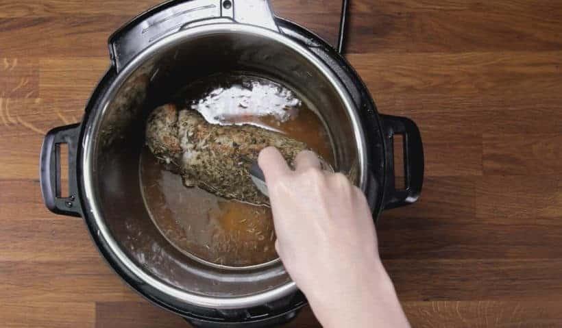 Instant Pot Pork Tenderloin: measure pork tenderloin internal temperature in Instant Pot Pressure Cooker