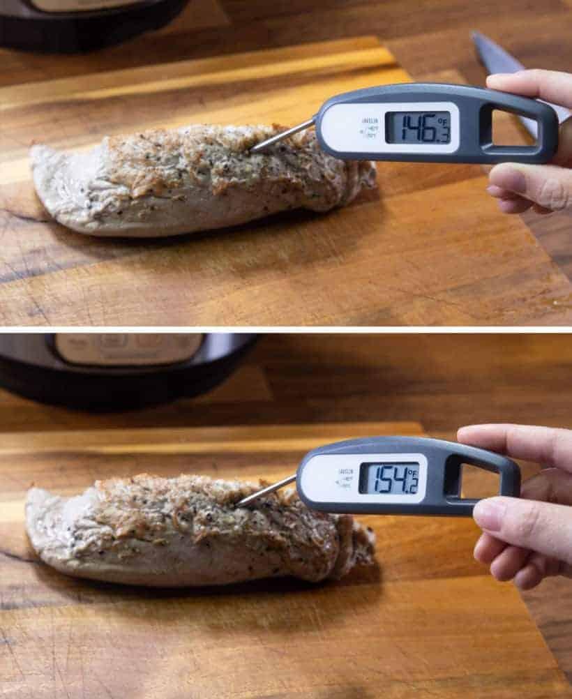 Instant Pot Pork Tenderloin: pork tenderloin internal temperature measurement changes after resting