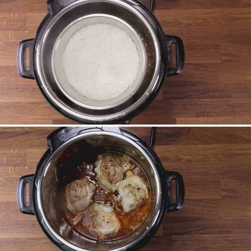 Instant Pot HK Onion Chicken: remove pot in pot rice from Instant Pot Pressure Cooker