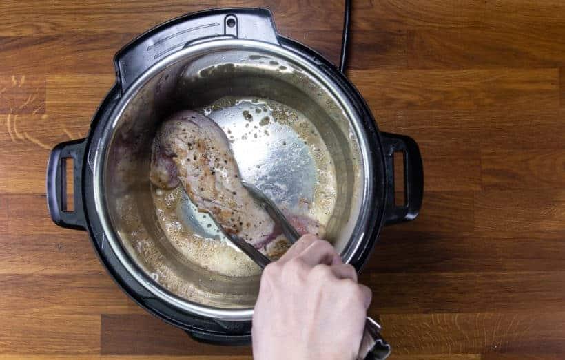 Instant Pot Pork Tenderloin: saute pork tenderloin in Instant Pot Pressure Cooker