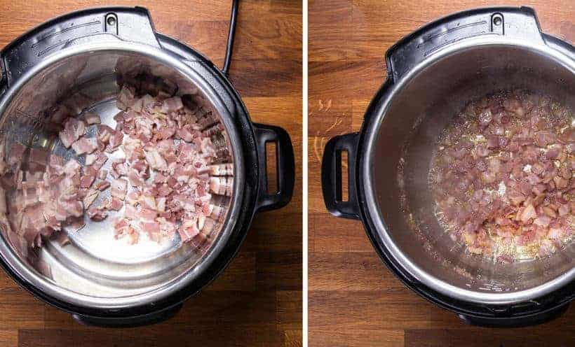 Instant Pot Loaded Refried Beans: crisp bacon in Instant Pot Pressure Cooker